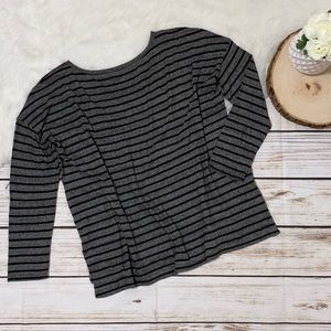 Eileen Fisher Long-Sleeve T-Shirt Gray Stripe